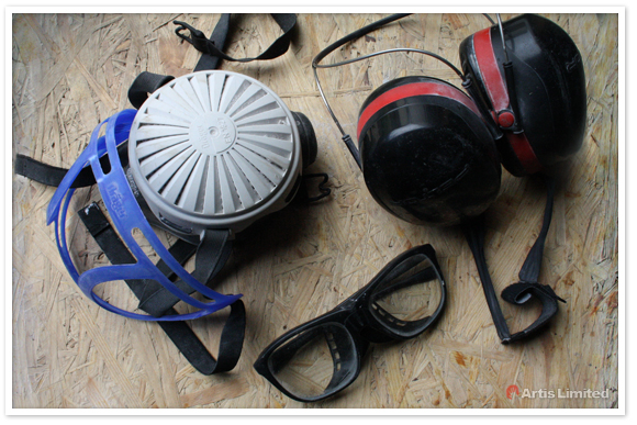 Glass lensed protective glass, mask and noice-reducing headphone by Artis Limited