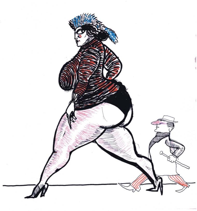 Fellini-Disegno-Donna-e-omino-Pennarello-su-carta-Fondazione-Fellini-Fondo-N-Giacchero