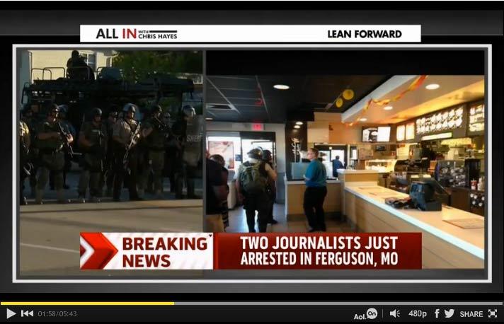 Journalists-arrested-in-Ferguson-McDonalds-MSNBC